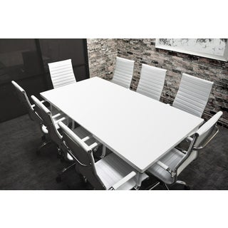 Solis Lucidum White Laqcuered Solid Wood Table And Bonded Leather Office Chairs 9 Piece Conference