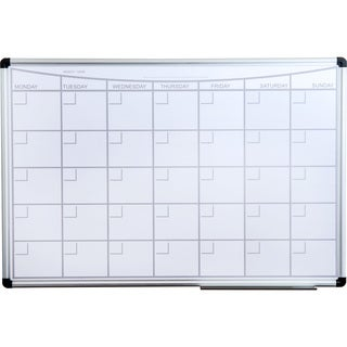 "Viztex Magnetic Monthly Planner Dry Erase Board Lacquered Steel with Aluminium Frame Size 36"" x 24"""