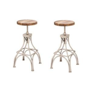 Urban Designs Classic Adjustable Height Wood Metal Bar Stool (Set of 2)