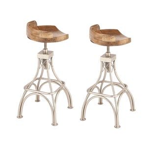 Urban Designs Adjustable Height Wood Metal Bar Stool (Set of 2)