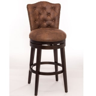 Gracewood Hollow Susic Swivel Counter-height Tufted Brown Faux Leather Stool