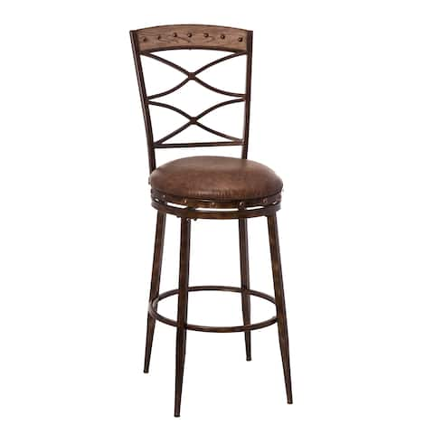 HIllsdale Furniture Emmons Swivel Counter Stool, Washed Grey With Brown Faux Leather