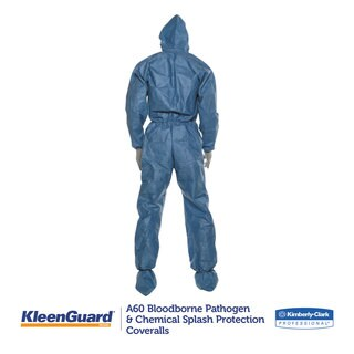 KleenGuard A60 Blood and Chemical Splash Protection Coveralls X-Large Blue 24/Carton