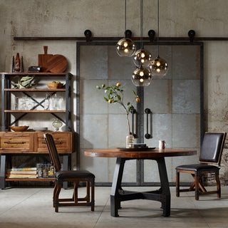 """INK+IVY Lancaster Amber/ Graphite Round Dining/ Gathering Table - amber/ graphite - dia 54"""" x 30""""h to 36""""h"""