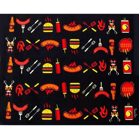 "Doortex BBQ Mat Under Grill Mat Fire Retardant and Flame Resistant Mat with Flame Design Size 39"" x 48"""