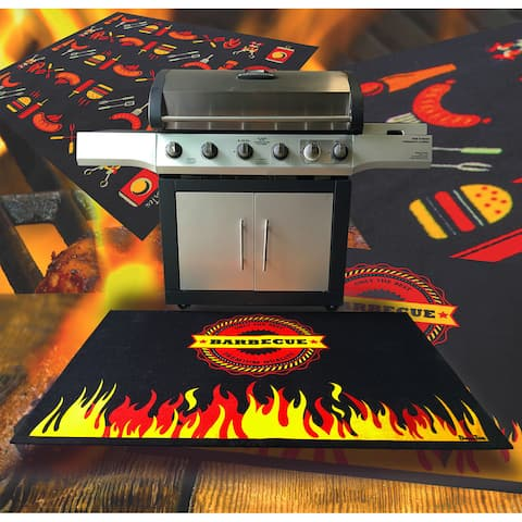 "Doortex BBQ Mat Under Grill Mat Fire Retardant and Flame Resistant Mat with Flame Design Size 39"" x 60"""