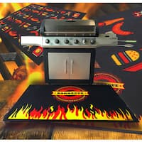 "Doortex  Fire Retardant Barbeque Mat Flame Design. 39"" x 60"""