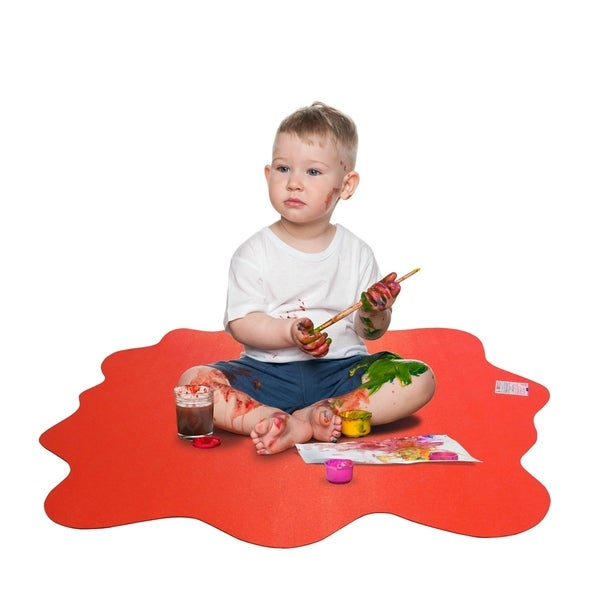 """Sploshmat  Multi-Purpose Mat for Young Families   Highchair and Play Mat   For Hard Floors   Blue   Size: 40"""" x 40"""" (max)"""