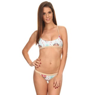 Women's Multicolored Painting Over-the-shoulder Crossback Bandeau and Banded Cheeky Bottom 2-piece Swimsuit
