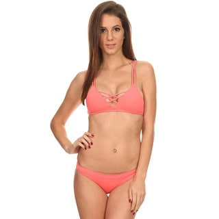 Dippin' Daisy's Women's Solid Coral Over-the-shoulder Triangle Top/Banded Bottom 2-piece Swimsuit