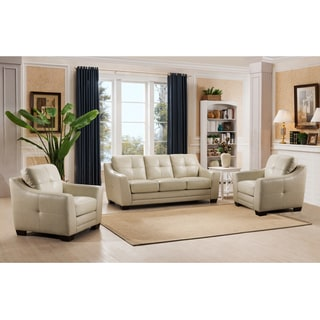 Parker Premium Cream Top Grain Leather Sofa and Chair Set