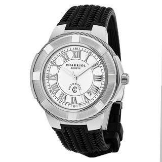 Charriol Men's CE443AS.173.001 'Celtica' White Dial Black Rubber Strap Swiss Automatic Watch