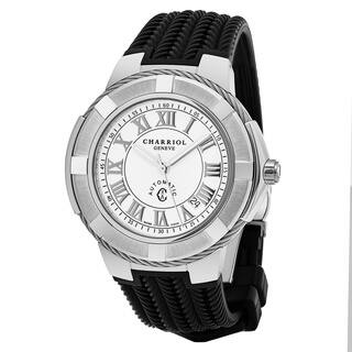 Charriol Men's CE443AS.173.001 'Celtica' White Dial Black Rubber Strap Swiss Automatic Watch