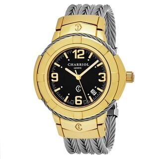 Charriol Men's 'Celtic' Black Dial Two Tone Stainless Steel Swiss Quartz Watch