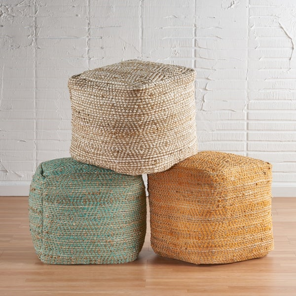 Abella Hand-Crafted Boho Fabric Cube Pouf by Christopher Knight Home