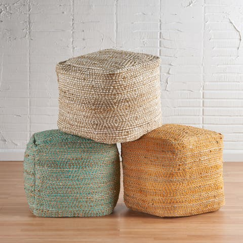 Abella Boho Cube Hemp and Cotton Pouf by Christopher Knight Home