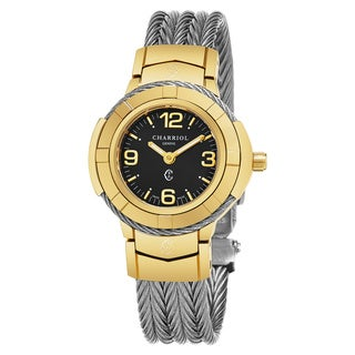 Charriol Women's CE426Y1.640.004 'Celtic' Black Dial Stainless Steel Two Tone Swiss Quartz Watch