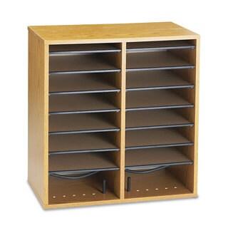 Safco Wood/Laminate Literature/CD Sorter 16 Section 19 1/2 x 11 3/4 x 21 Medium Oak
