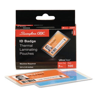 Swingline GBC UltraClear Thermal Laminating Pouches ID Badge 5mil 2 5/8 x 3 7/8 100/Pack