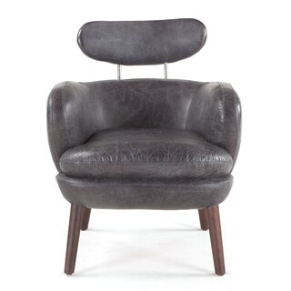 Chiavari Mid-Century Distressed Black Leather Arm Chair