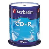 Verbatim CD-R Discs 700MB/80min 52x Spindle Silver 100/Pack