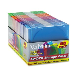 Verbatim CD/DVD Slim Case Assorted Colors 50/Pack