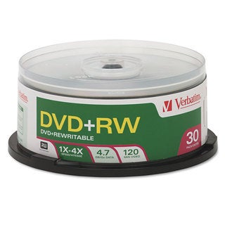 Verbatim DVD+RW Discs 4.7GB 4x Spindle 30/Pack