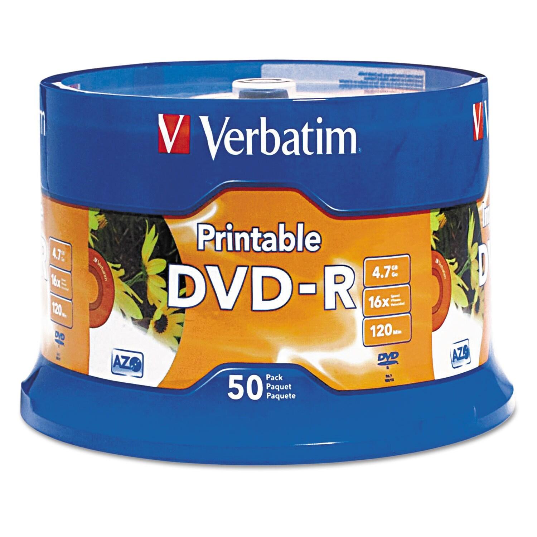 Verbatim DVD-R Disc, 4.7 GB, 16x, White, 50/Pk (White) #9...