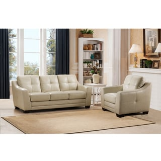 Parker Premium Cream Top Grain Leather Sofa and Chair