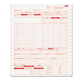 Paris Business Products UB04 Claim Forms 2 Part Continuous White/Canary 9 1/2 x 11 1000 Forms