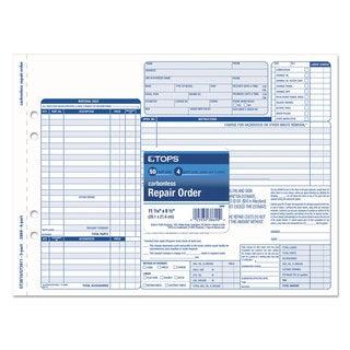 TOPS Auto Repair Four-Part Order Form 8 1/2 x 11 Four-Part Carbonless 50 Forms