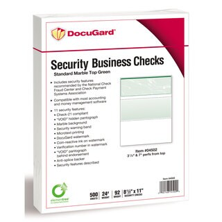 DocuGard Standard Security Check Green Marble Top 24 lb Letter 500/Ream