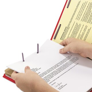 Smead Pressboard End Tab Folders Legal Six-Section Bright Red 10/Box