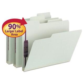 Smead SuperTab Folders with SafeSHIELD Fasteners 1/3 Cut Letter Grey/Green 25/Box