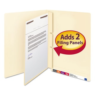 Smead Manila Self-Adhesive End/Top Tab Folder Dividers 2-Sections Letter 100/Box