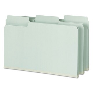 Smead SuperTab Folders with SafeSHIELD Fasteners 1/3 Cut Legal Grey/Green 25/Box