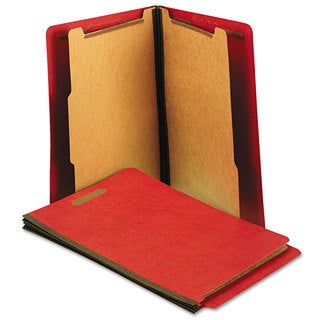 Universal Pressboard End Tab Folders, Letter, Six-Section, Bright Red, (Pack of 10)