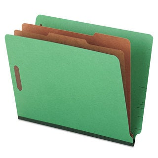 Universal One Pressboard End Tab Folders Letter Six-Section Green 10/Box