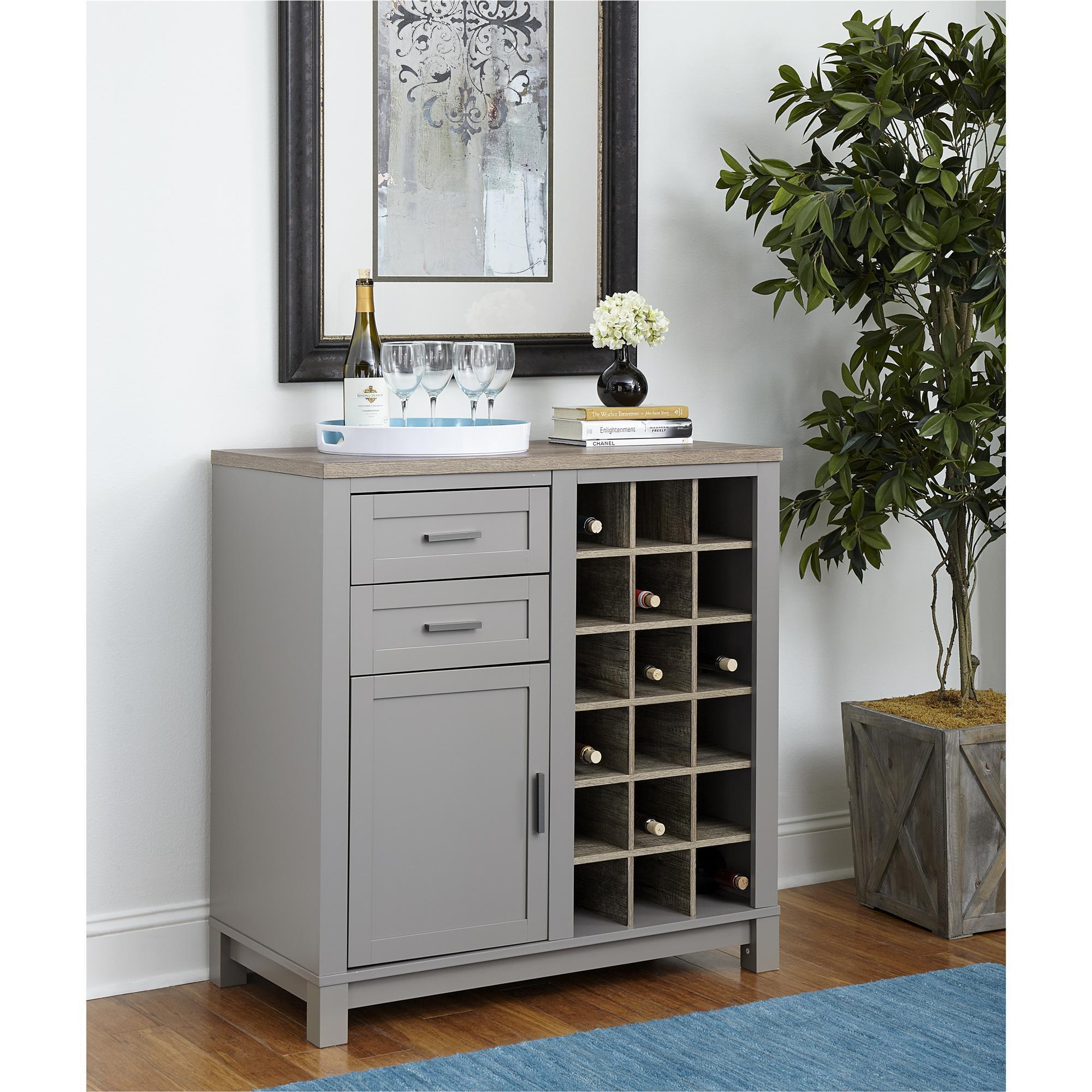 Shop Ameriwood Home Carver Grey/ Sonoma Oak Bar Cabinet - Free ...