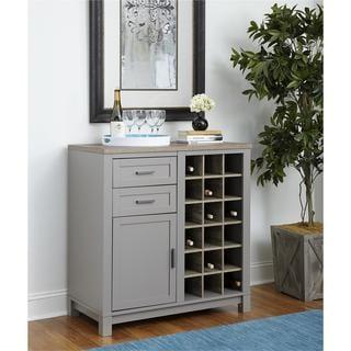 Altra Carver Grey/ Sonoma Oak Bar Cabinet