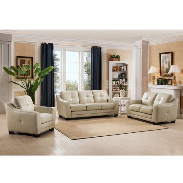 Parker Premium Cream Top Grain Leather Sofa Loveseat And Chair Set
