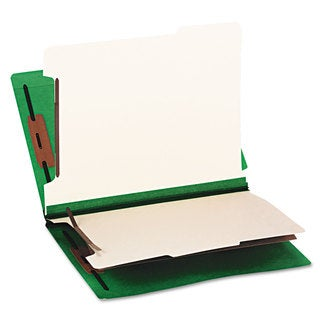 Smead Colored End Tab Classification Folders Letter Six-Section Green 10/Box