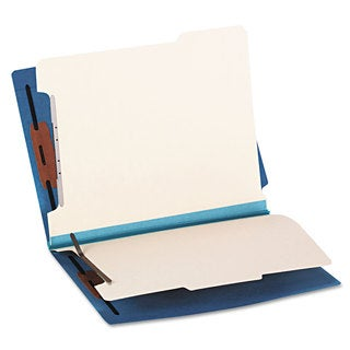 Smead Colored End Tab Classification Folders Letter Six-Section Blue 10/Box