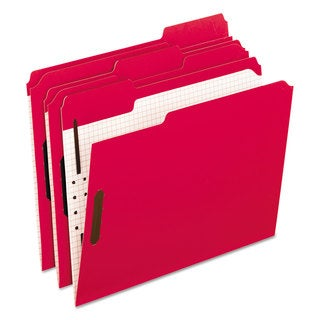 Pendaflex Colored Folders With Embossed Fasteners 1/3 Cut Letter Red/Grid Interior