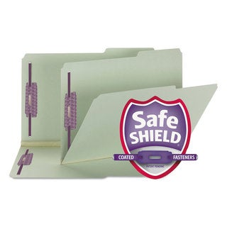 Smead Two Inch Expansion Fastener Folder 2/5 Right Tab Legal Grey Green 25/Box