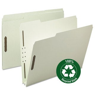 "Smead Recycled Pressboard Fastener Folders, Letter, 2"" Exp., Gray/Green, (Pack of 25)"