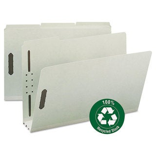 """Smead Recycled Pressboard Fastener Folders, Legal, 3"""" Expansion, Gray/Green, (Pack of 25)"""