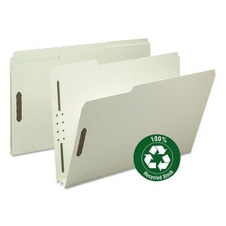 """Smead Recycled Pressboard Fastener Folders, Legal, 2"""" Expansion, Gray/Green, (Pack of 25)"""