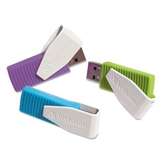 Verbatim Store 'n' Go Swivel USB 2.0 Flash Drive 8GB Blue/Green/Violet 3/Pack