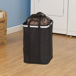 Krush Black Fabric Collapsible Hamper